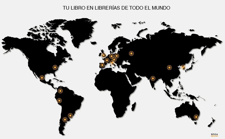 Mapa distribución de libros internacional de Editorial Spica en 2019